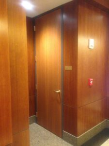 Wood door with metal frame, stairwell doors, wood door frame