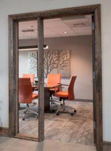 Office Interior Design, Wood Door Frame, Glass Sidelite, walnut door frame, conference room design