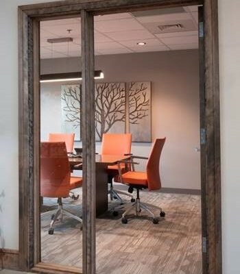 Office Interior Design, Wood Door Frame, Glass Sidelite, walnut door frame, conference room design