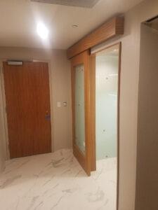 Hotel Barn Door Slider Wood Valance, Grandoor Frames, Afromosia,